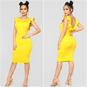 Ruffle Trim Open Back Yellow Midi Dress